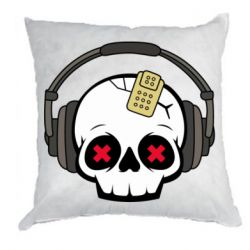 Подушка Skull in headphones 1