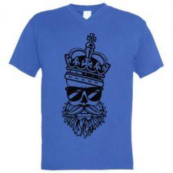 Купить Мужская футболка с V-образным вырезом Skull in the Crown, FatLine