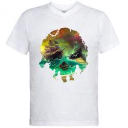 Чоловіча футболка з V-подібним вирізом Skull of a sea of thieves