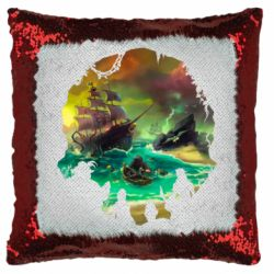 Подушка-хамелеон Skull of a sea of thieves