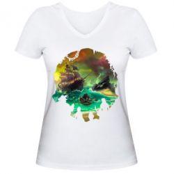 Жіноча футболка з V-подібним вирізом Skull of a sea of thieves