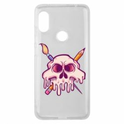Чехол для Xiaomi Redmi Note 6 Pro Skull with brush and pencil