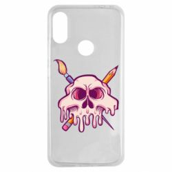 Чехол для Xiaomi Redmi Note 7 Skull with brush and pencil