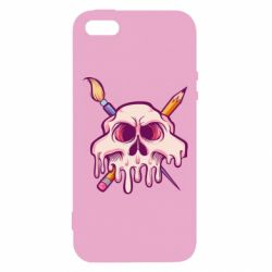 Чохол для iphone 5/5S/SE Skull with brush and pencil
