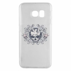 Чохол для Samsung S6 EDGE Skull with horns and patterns