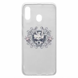 Чохол для Samsung A20 Skull with horns and patterns