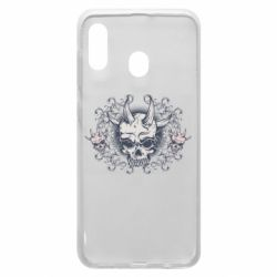 Чохол для Samsung A30 Skull with horns and patterns