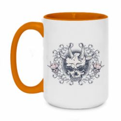 Кружка двоколірна 420ml Skull with horns and patterns