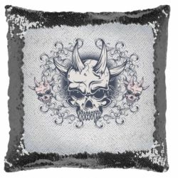 Подушка-хамелеон Skull with horns and patterns