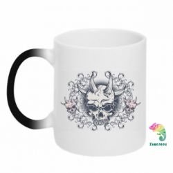 Кружка-хамелеон Skull with horns and patterns