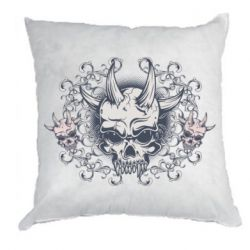 Подушка Skull with horns and patterns