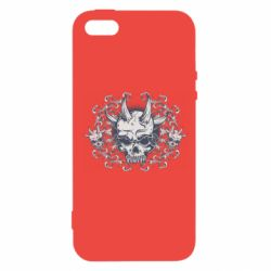 Чохол для iphone 5/5S/SE Skull with horns and patterns