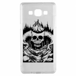 Чехол для Samsung A5 2015 Skull with horns in the forest