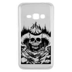 Чехол для Samsung J1 2016 Skull with horns in the forest