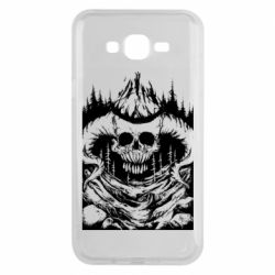 Чехол для Samsung J7 2015 Skull with horns in the forest