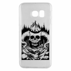 Чехол для Samsung S6 EDGE Skull with horns in the forest