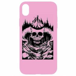 Чехол для iPhone XR Skull with horns in the forest