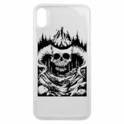Чехол для iPhone Xs Max Skull with horns in the forest