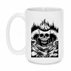Кружка 420ml Skull with horns in the forest