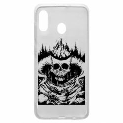 Чохол для Samsung A20 Skull with horns in the forest