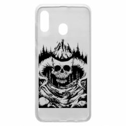 Чехол для Samsung A30 Skull with horns in the forest