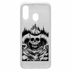 Чехол для Samsung A40 Skull with horns in the forest
