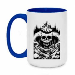 Кружка двухцветная 420ml Skull with horns in the forest