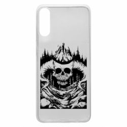 Чехол для Samsung A70 Skull with horns in the forest