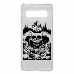 Чехол для Samsung S10 Skull with horns in the forest