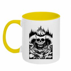 Кружка двухцветная 320ml Skull with horns in the forest