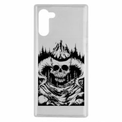 Чехол для Samsung Note 10 Skull with horns in the forest
