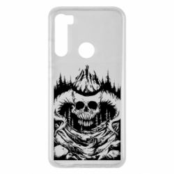 Чехол для Xiaomi Redmi Note 8 Skull with horns in the forest