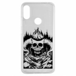 Чехол для Xiaomi Redmi Note 7 Skull with horns in the forest