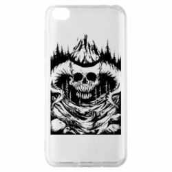Чехол для Xiaomi Redmi Go Skull with horns in the forest