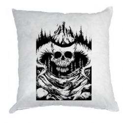 Подушка Skull with horns in the forest