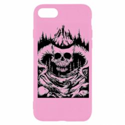 Чехол для iPhone 7 Skull with horns in the forest