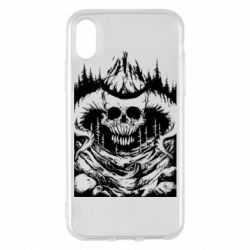 Чехол для iPhone X/Xs Skull with horns in the forest