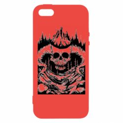 Чохол для iphone 5/5S/SE Skull with horns in the forest