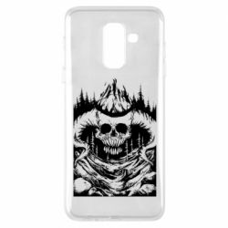 Чехол для Samsung A6+ 2018 Skull with horns in the forest