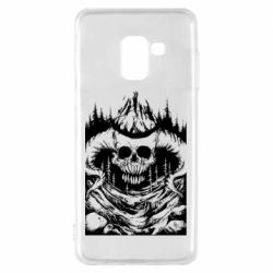 Чехол для Samsung A8 2018 Skull with horns in the forest