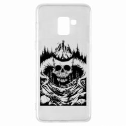 Чехол для Samsung A8+ 2018 Skull with horns in the forest