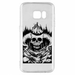 Чехол для Samsung S7 Skull with horns in the forest