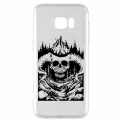 Чехол для Samsung S7 EDGE Skull with horns in the forest