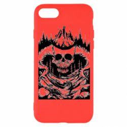 Чехол для iPhone 8 Skull with horns in the forest