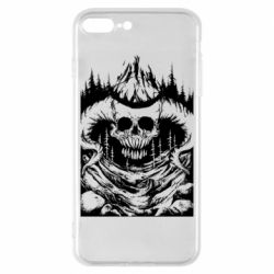 Чехол для iPhone 8 Plus Skull with horns in the forest