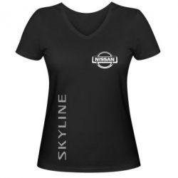 Женская футболка с V-образным вырезом Skyline Logo (Nissan) - FatLine