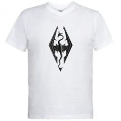 Мужская футболка  с V-образным вырезом Skyrim Logo 3D - FatLine