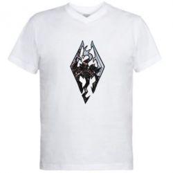 Мужская футболка  с V-образным вырезом Skyrim Logo - FatLine