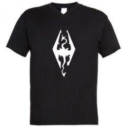 Мужская футболка  с V-образным вырезом Skyrim - FatLine