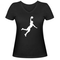 Женская футболка с V-образным вырезом Slam dunk - FatLine